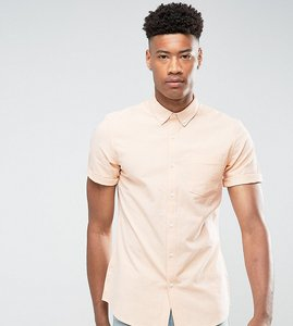 Read more about Asos tall casual stretch slim oxford shirt in orange - orange
