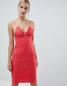 Read more about Rare london lace detail midi dress - coral