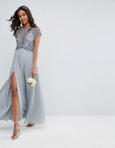 Read more about Asos wedding delicate beaded bodice maxi dress - grey