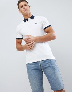 Read more about Abercrombie fitch contrast collar cuff pique polo stretch slim fit in white navy - white