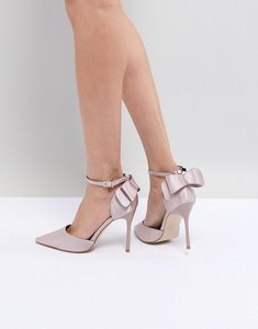 Read more about Chi chi london bow back heels in satin - nude