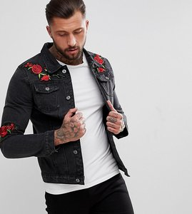 Read more about Liquor n poker denim jacket with rose embroidery - black