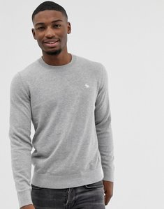 Read more about Abercrombie fitch core icon moose logo crewneck sweatshirt in light grey marl - light grey marl