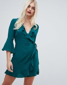Read more about Outrageous fortune ruffle wrap dress with fluted sleeve in green - emerald green
