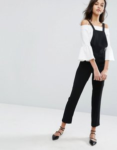 Read more about Miss selfridge tailored dungaree jumpsuit - black