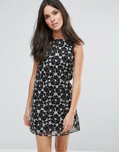Read more about Glamorous shift dress - black pink flower or