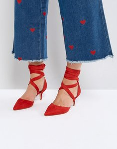 Read more about Raid tanisha red kitten heel ankle tie shoes - red