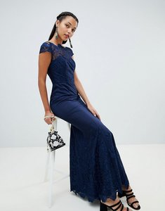 Read more about Chi chi london premium lace maxi dress - navy