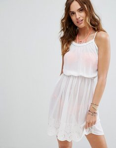 Read more about Butterfly by matthew williamson crochet trim strappy beach dress - white