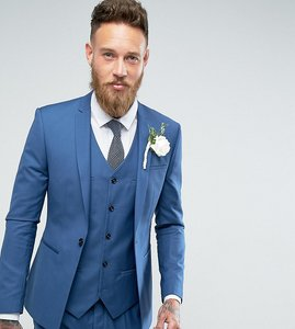 Read more about Noak super skinny wedding suit jacket with square hem in blue - mid blue