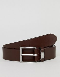 Read more about Boss smooth leather logo keeper belt in brown - 202