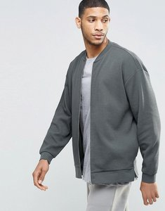 Read more about Asos oversized jersey bomber with split hem in khaki - storm cloud grey