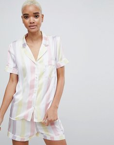 Read more about Missguided stripe satin pyjama set - white