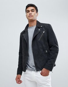 Read more about Selected homme nubuck leather biker jacket - antracit