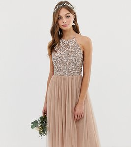 Read more about Maya high neck midi tulle dress with tonal delicate sequins - taupe blush