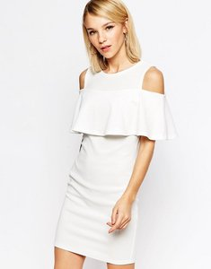 Read more about Club l mini dress with cold shoulder frill detail - cream