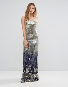 Read more about City goddess bandeau maxi patterned sequin dress - gold sequin