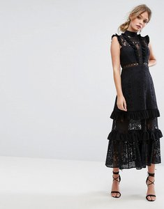 Read more about Three floor tiered lace midi dress - black