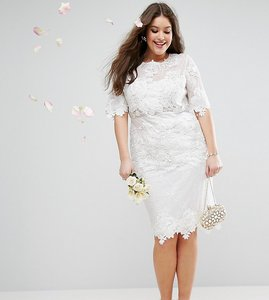 Read more about Asos edition curve lace embroidered midi wedding dress - white