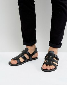Read more about Asos sandals in black leather with studs - black