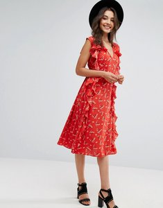 Read more about Asos ruffle midi dress in ditsy print - multi