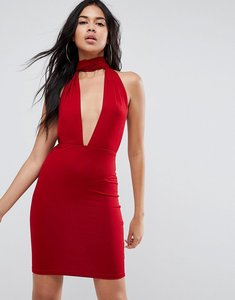Read more about Asos halterneck plunge mini bodycon dress - red