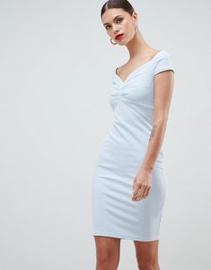 Read more about City goddess bardot pencil midi dress - pale blue
