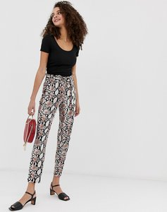 Read more about Qed london paperbag waist peg trousers in snake print
