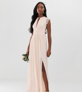 Read more about Tfnc tall lace detail maxi bridesmaid dress in pearl pink
