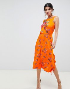 Read more about Asos design rose applique midi tea dress in floral print - floral print