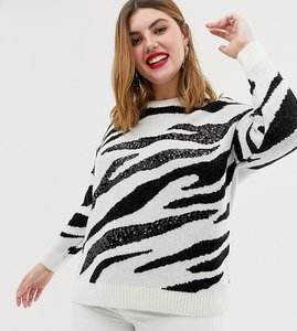 Read more about New look curve sequin jumper in zebra