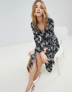 Read more about Miss selfridge floral print wrap front midi dress - multi