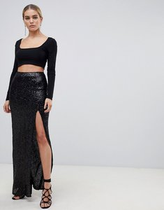 Read more about Outrageous fortune sequin maxi wrap skirt with front split in black