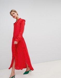 Read more about Essentiel antwerp ruffle midi dress in spot print - american red