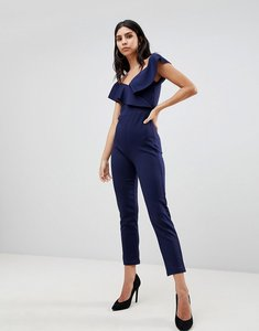 Read more about True violet off shoulder jumpsuit with frill details - navy