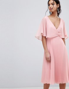 Read more about Asos midi dress with pleat skirt and flutter sleeve - dusty pink