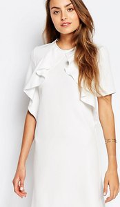 Read more about Alter tall ruffle front short sleeve shift dress - cream