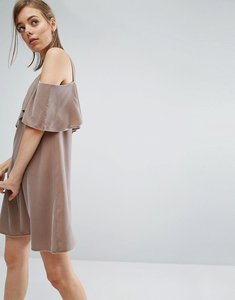 Read more about Asos double layer velvet mini dress with cold shoulder detail - mink