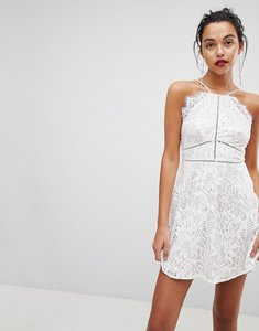 Read more about Love triangle strappy detail lace skater mini dress - white