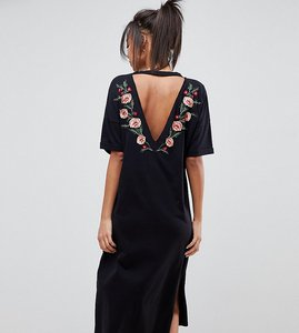 Read more about Asos design tall midi tshirt dress with embroidered back - black