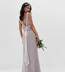 Read more about Tfnc sateen bow back maxi bridesmaid dress in grey