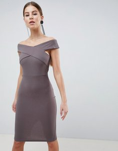 Read more about Ax paris cross front pencil midi dress - pewter