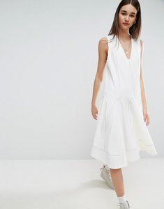 Read more about Asos white a-line midi dress with contrast stitch v-neck - white