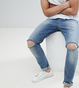 Read more about Asos design tall skinny jeans in mid wash with knee rips - mid wash blue
