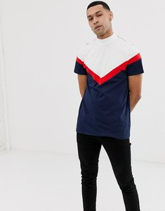 Read more about Asos design longline t-shirt with turtle neck and chevron cut and sew in navy - navy