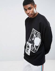 Read more about Asos oversized longline sweatshirt with printed patches - black