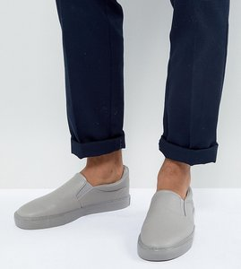 Read more about Asos wide fit slip on plimsolls grey block - grey