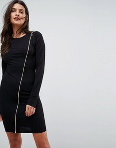 Read more about Asos long sleeve bodycon dress with zip - black
