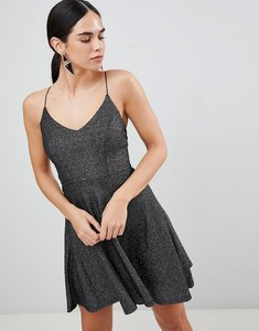 Read more about Ax paris metallic skater mini dress - black