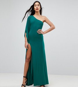 Read more about City goddess tall one shoulder maxi dress with side split - emerald green